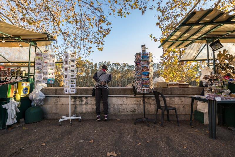 11/09/2018 - Rome Italien: Man som ser tefloden från vägen arkivbilder