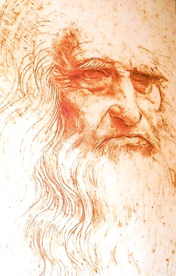 ROME ITALIEN; OKTOBER 12, 2017 Leonardo Da Vinci Portrait han arkivbilder