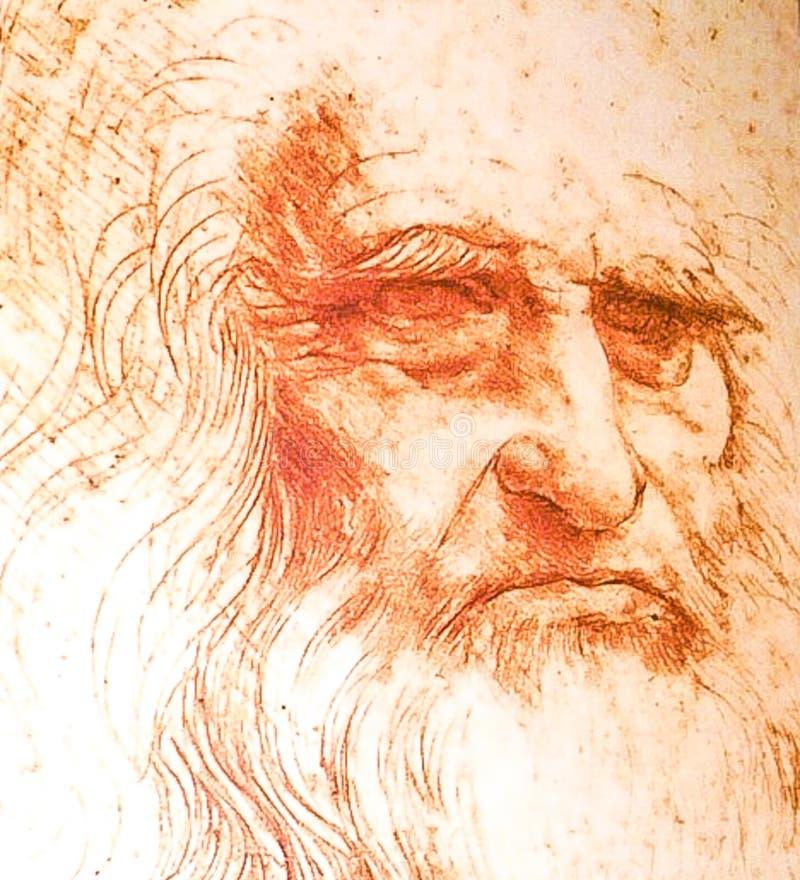 ROME ITALIEN; OKTOBER 12, 2017 Leonardo Da Vinci Portrait han royaltyfri foto