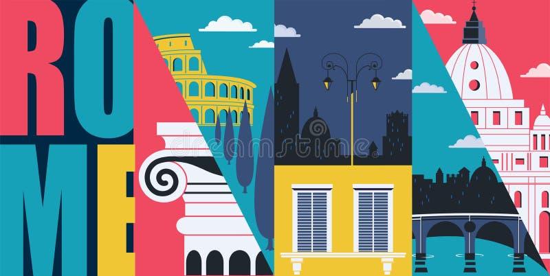 Rome Italien vektorbaner, illustration Cityscape historiska gränsmärken i modern plan design royaltyfri illustrationer