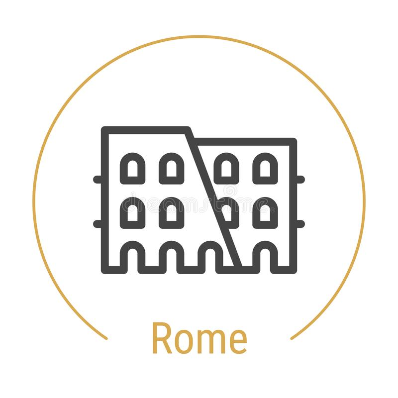 Rome Italien vektorlinje symbol vektor illustrationer