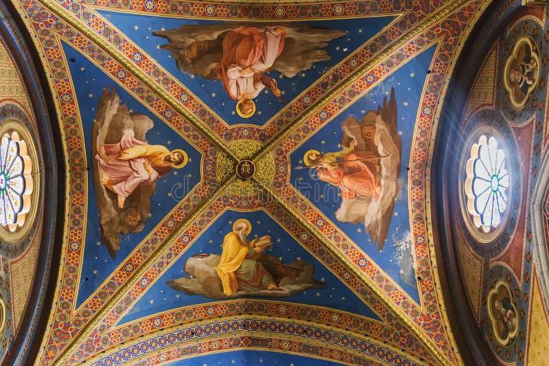 Ceiling of Basilica of Santa Maria sopra Minerva in Rome, Italy royalty free stock images
