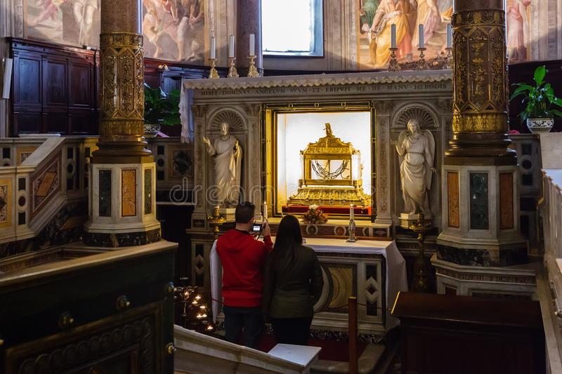 Reliquary containing the chains of St Peter in the basilica San stock photography