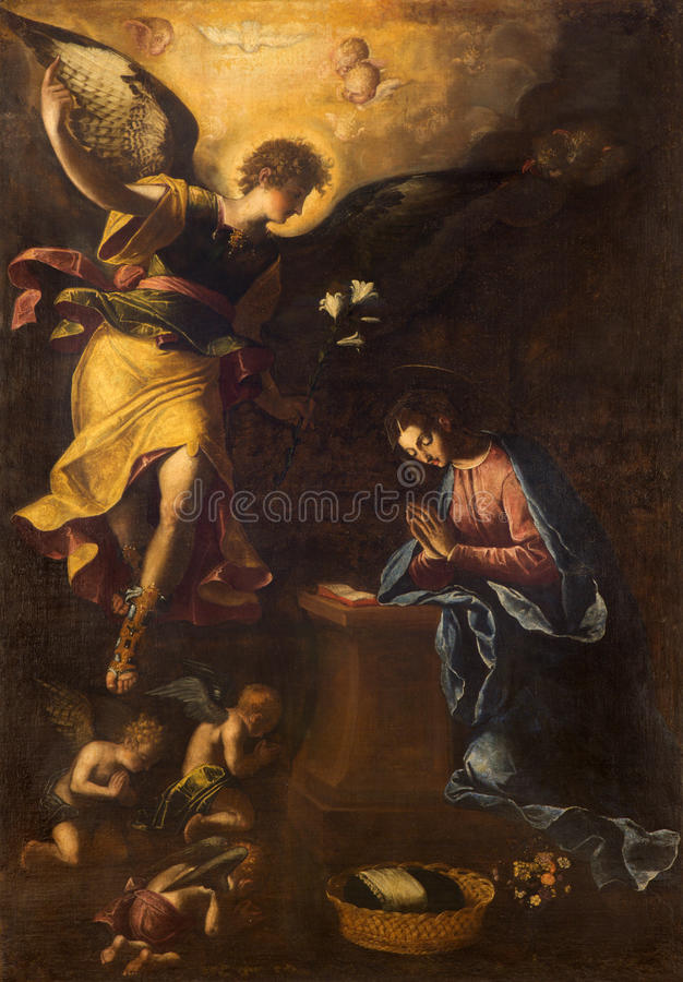ROME, ITALY: Annunciation paint by Francesco Nappi (1604 - 1617) in church Chiesa di Santa Maria in Aquiro. ROME, ITALY - MARCH 9, 2016: The Annunciation paint royalty free stock photo