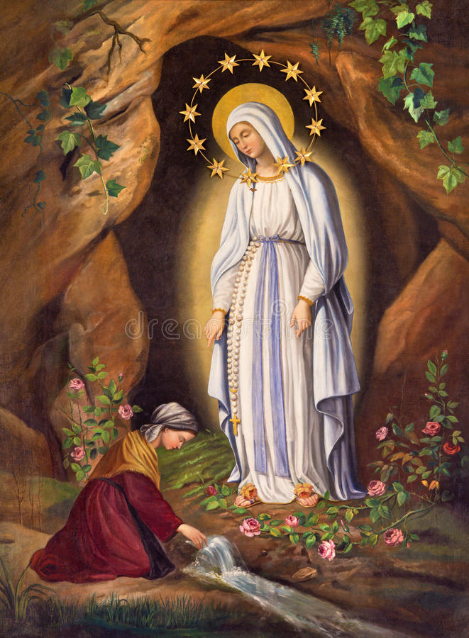 ROME, ITALY: Appearance of Virgin to st. Bernadette in Lourdes by unknown artist, in church Chiesa di Santa Maria in Aquiro. ROME, ITALY - MARCH 9, 2016: The stock photography