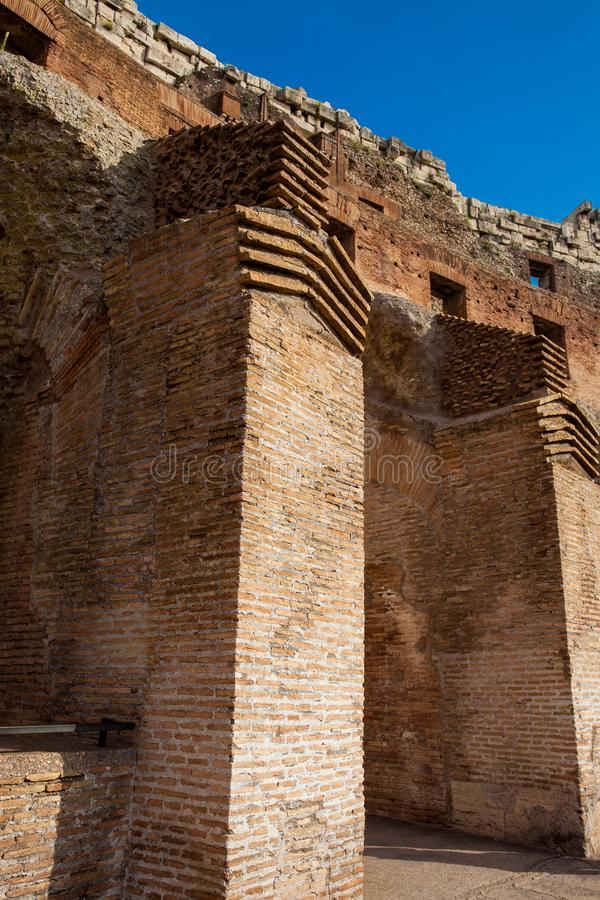 Detail of the walls of the famous Colosseum in Rome royalty free stock photography