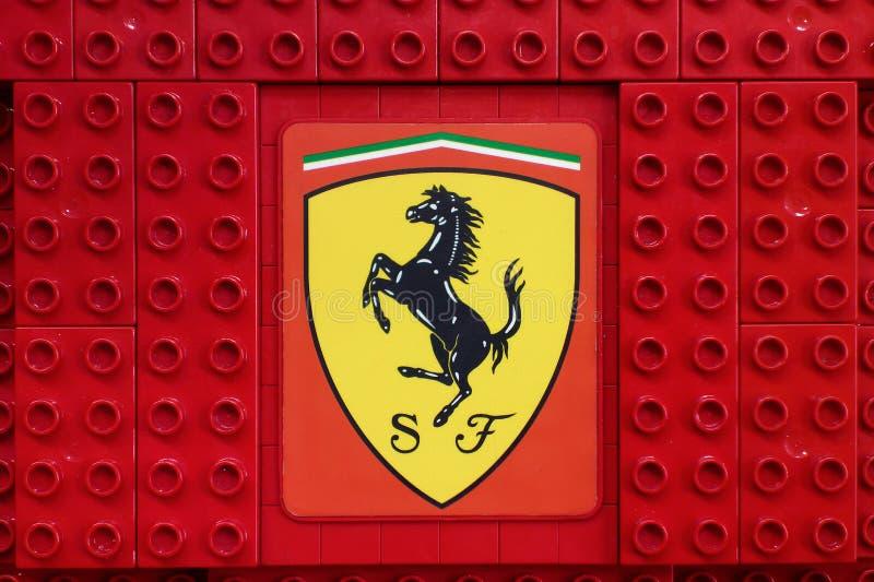 Logo Ferrari Lego building blocks royalty free stock photo