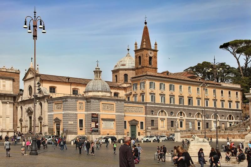 Rome, Italy - APRIL 12, 2016: People`s Square Piazza del Popolo royalty free stock photo