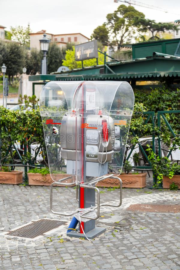 Public phone operated by Telecom Italia in Rome stock photo