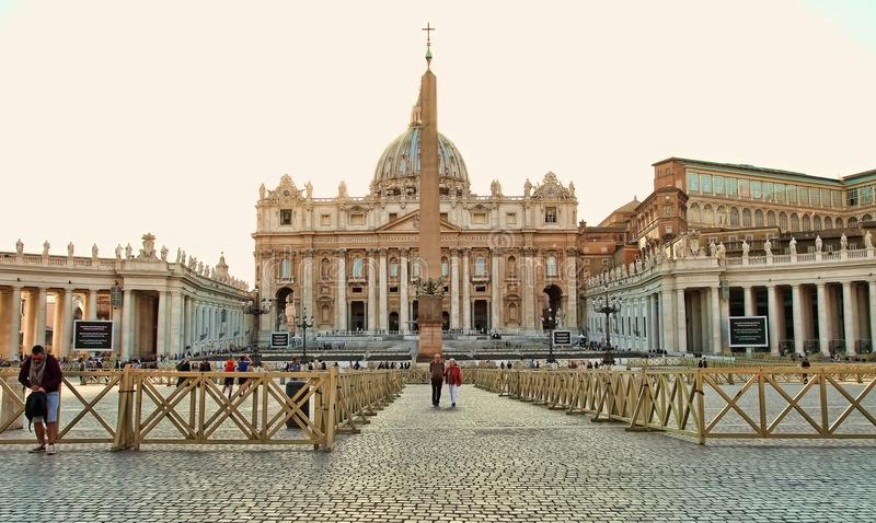Rome, Italy - APRIL 10, 2016: St. Peter`s Square Vatican, Rome. Italy, Renaissance architecture. One of the popualr touristic destinations in Rome royalty free stock photo