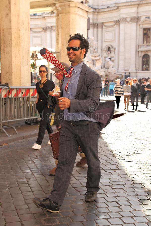 Rome, Italy - APRI 11, 2017 : Street artist, animator performing a cheerful pedestrian in the center of Rome. royalty free stock photos