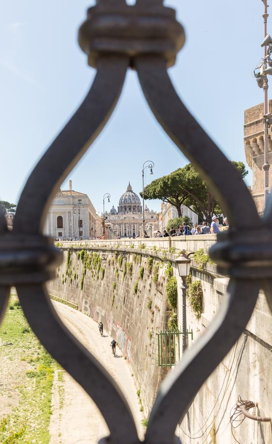 ROME, ITALY - APRIL 27, 2019: View from Ponte Umberto I bridge of Saint Peter`s Basilica stock images