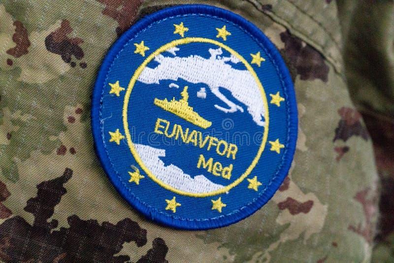 Eunavfor Med symbol. Rome, Italy - August 8, 2018: EUNAVFOR Med symbol. Operation Sophia, formally European Union Naval Force Mediterranean - Operation Sophia royalty free stock images