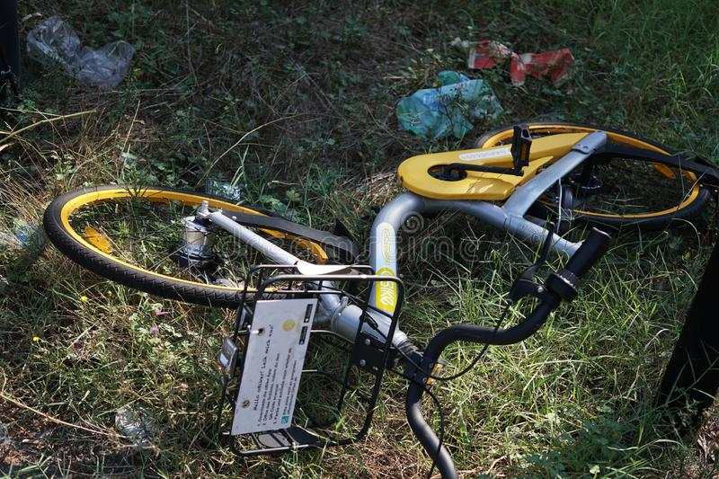 Knocked over oBikes stock photography