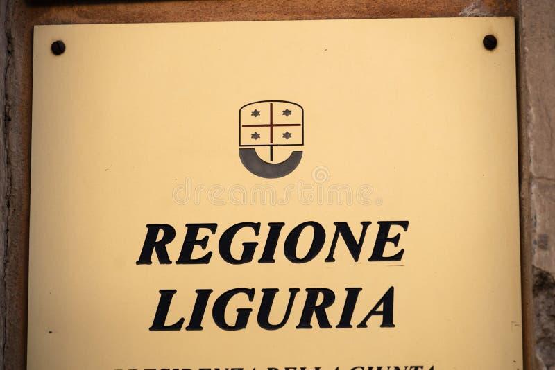 Italian Regione Liguria sign. Rome, Italy - August 19, 2019: Plate of Regione Liguria. The regions of Italy Italian: Regioni are the first-level constituent stock photos
