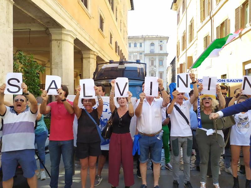 Supporters of Italian Deputy PM Matteo Salvini royalty free stock images