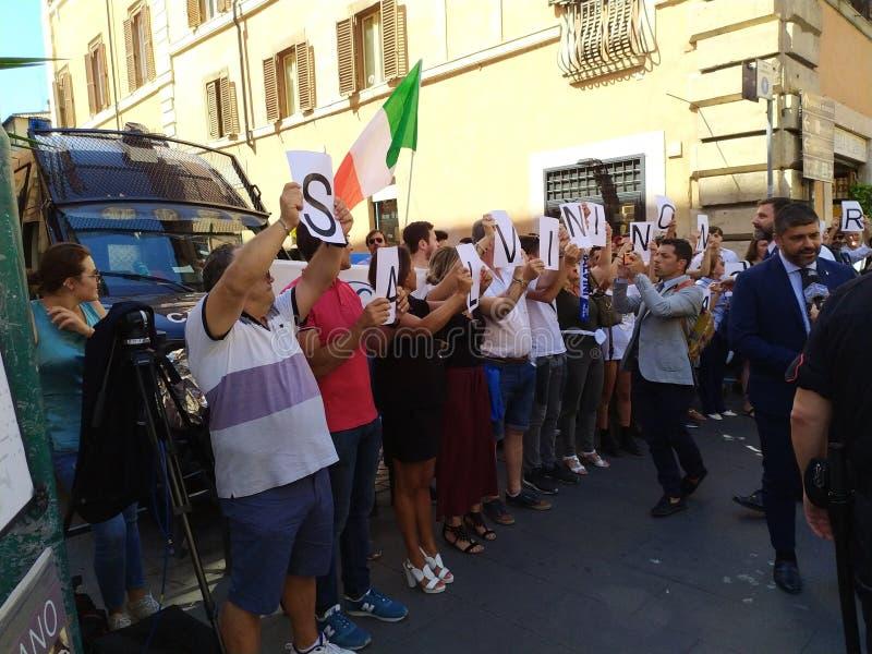 Supporters of Italian Deputy PM Matteo Salvini stock image