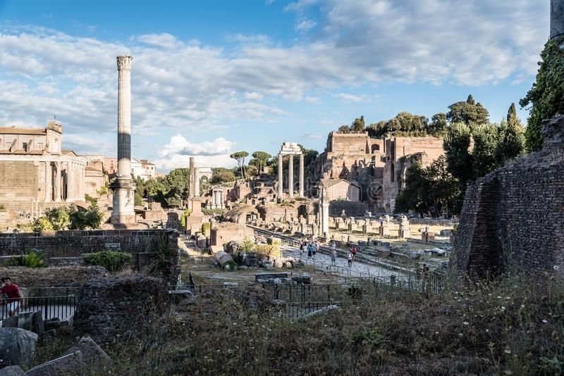 View of Forum of Rome. Rome, Italy - August 22, 2016: View of Forum of Rome a sunny summer day in Rome. It was for centuries the center of Roman public life stock image