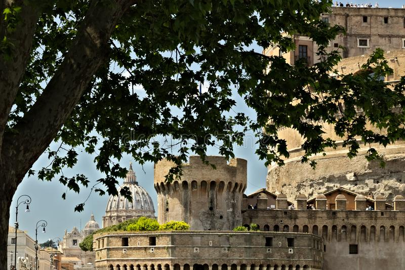 Detail of Castel Sant`Angelo with the LungoTevere trees stock photo