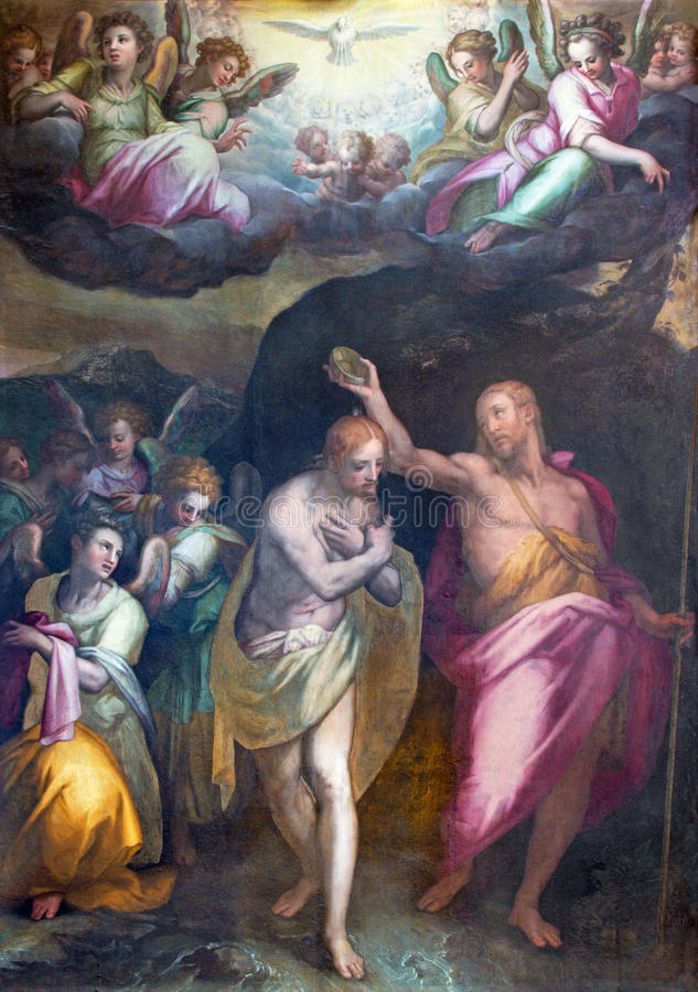 ROME, ITALY: Baptism of Christ painting in church Chiesa di Santissima Trinita dei Monti and st. John the Baptist chapel. ROME, ITALY - MARCH 9. 2016: The royalty free stock image