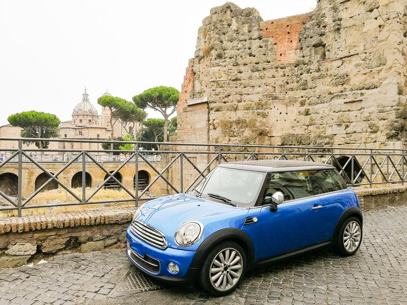 Rome, Italy , car parked near ST. Peter`s Basilica. Vatican City, Rome, Italy, July 2018: car parked n front of the St Peter`s Basilica in Vatican stock photography