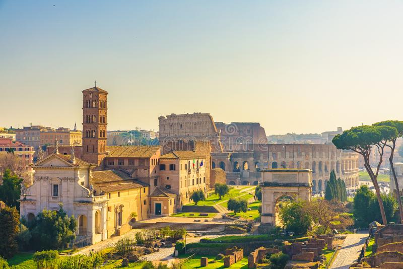 Rome, Italy city skyline with landmarks Colosseum and Roman Forum view from Palatine hill royalty free stock photo