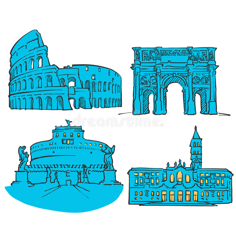 Rome Italy Colored Landmarks vector illustration
