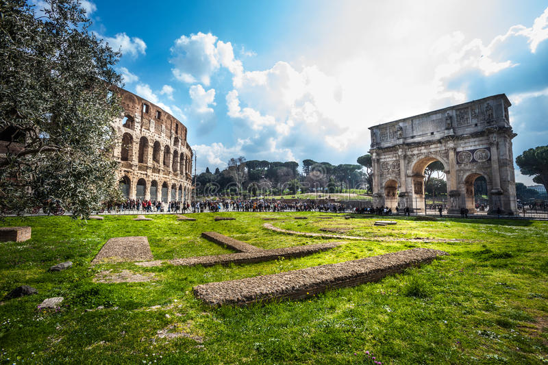 Rome, Italy. Colosseum and the Arch of Constantine royalty free stock photo