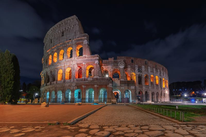Rome, Italy. The Colosseum or Coliseum at night stock photo