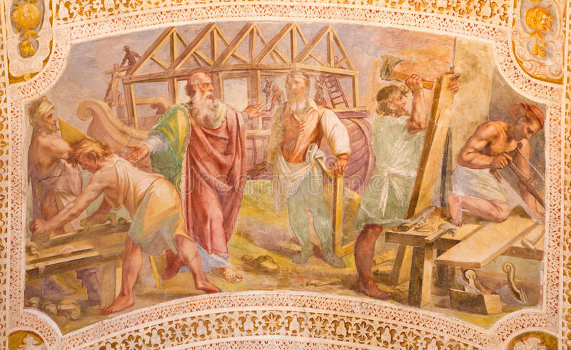 ROME, ITALY: Construction of Noah's Ark. Fresco from the vault of stairs in church Chiesa di San Lorenzo. ROME, ITALY - MARCH 11, 2016: The Construction of Noah' stock photo