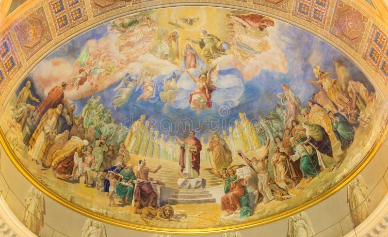 ROME, ITALY: Coronation of Our Lady fresco 1957-1965 in main apse of church Basilica di Santa Maria Ausiliatrice. ROME, ITALY - MARCH 10, 2016: The Coronation stock images