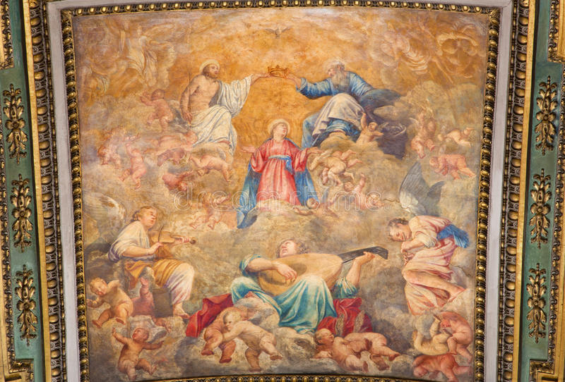 ROME, ITALY: Coronation of Virgin Mary ceiling fresco in church Chiesa di Santa Maria in Aquiro in Annunciation chapel. ROME, ITALY - MARCH 9, 2016: The royalty free stock photos
