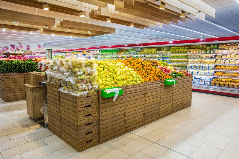 Fruit and vegetable department, fresh fruit crates freshly harvested royalty free stock images