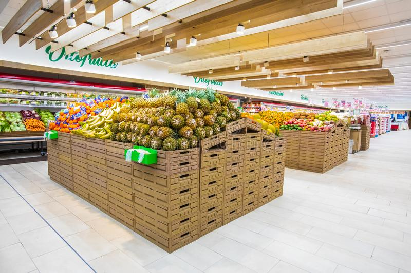 Fruit and vegetable department, fresh fruit crates freshly harvested. ROME, ITALY. December 05, 2018: Fruit and vegetable department, fresh fruit crates freshly royalty free stock photos