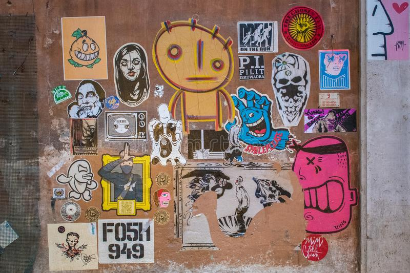 Rome, Italy. December 04, 2017: Graffiti wall background. Urban. Graffiti wall background. Urban art grafitti design stock images