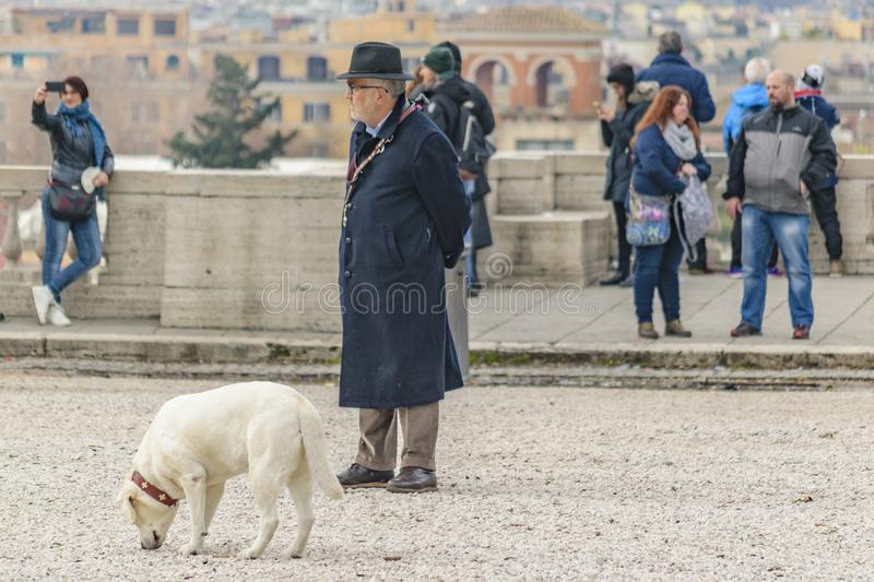 People at Monte Pincio Viewpoint, Rome, Italy stock image