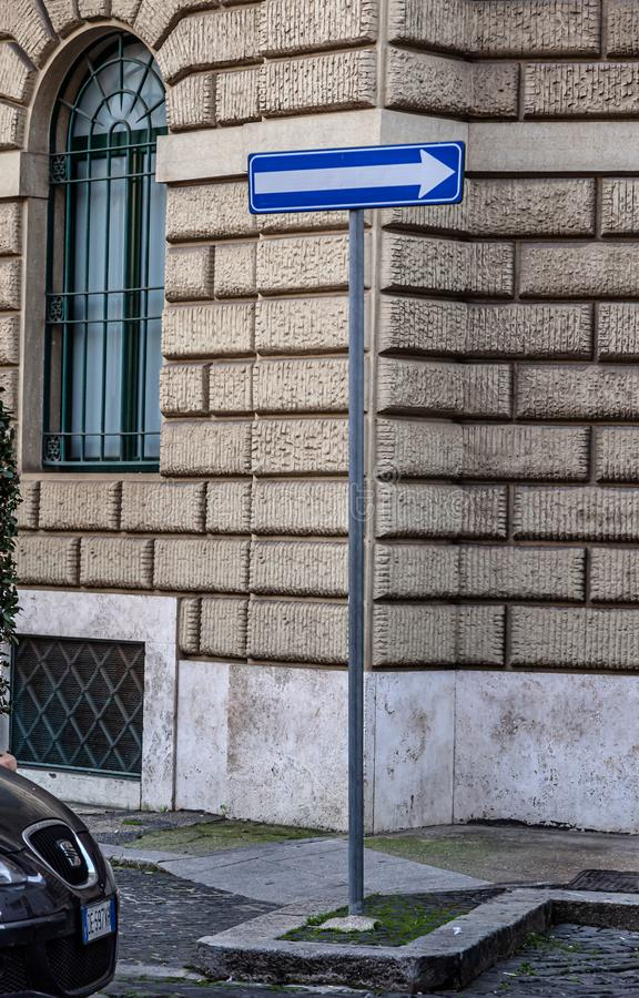A picture of different signs taken in Rome, Italy royalty free stock image