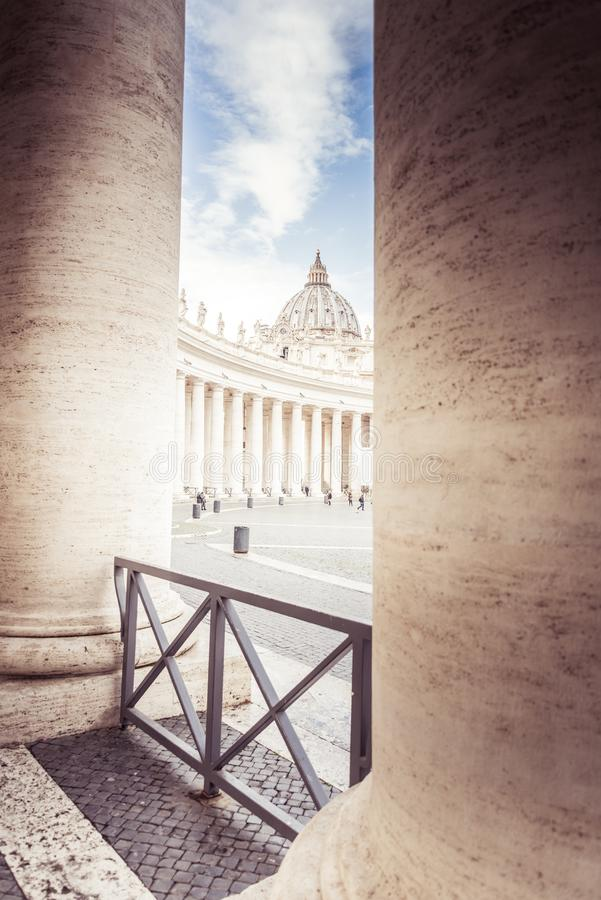 Rome, Italy, December 2018: Saint Peter Basilica at St. Peter Square in Vatican, columns stock images