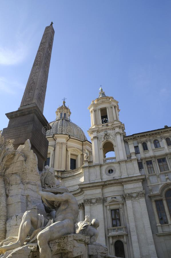 Bernini`s fountain of the 4 rivers in Piazza Navona in Rome Italy stock photos