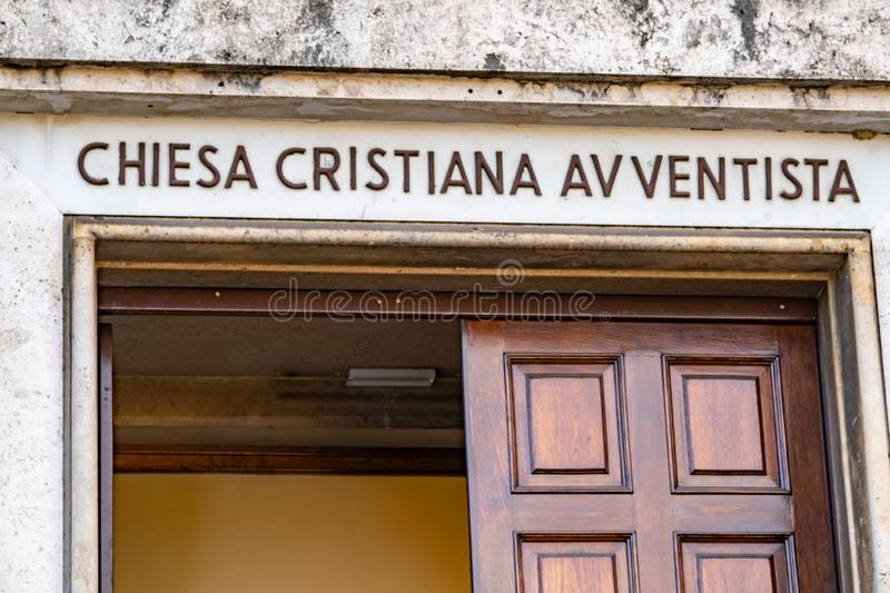 Seventh-day Adventist Church in Rome, Italy. Rome, Italy - February 15, 2019: Italian sign of Chiesa cristiana avventista, Seventh-day Adventist Church stock photography