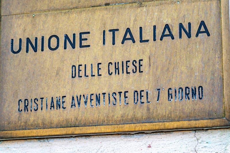 Italian Union of the Seventh-day Adventist Churches. Rome, Italy - February 15, 2019: Italian sign of Unione italiana delle Chiese cristiane avventiste del 7 stock images