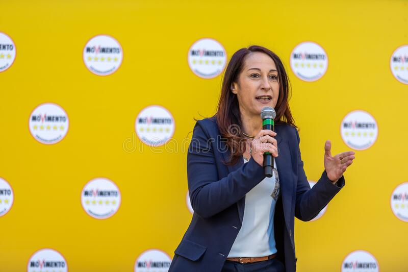 Paola Taverna on the stage of the M5S event royalty free stock image