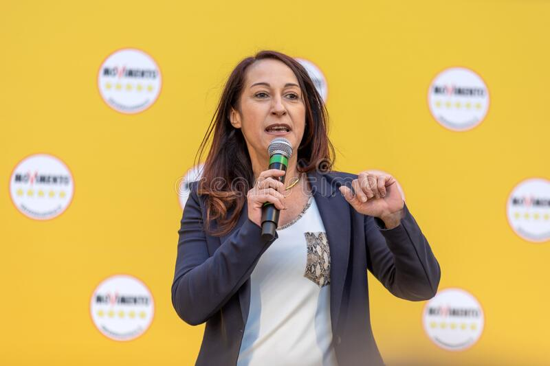 Paola Taverna on the stage of the M5S event royalty free stock images