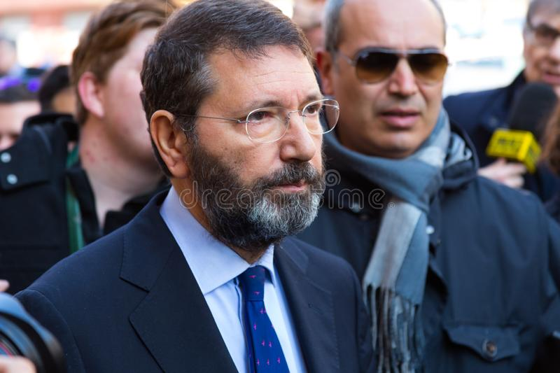 Rome`s Mayor on a Walkabout. Rome, Italy - February 20, 2015: The Mayor of Rome, Ignazio Marino, visited the Barcaccia Fountain at the foot of the Spanish Steps royalty free stock photo
