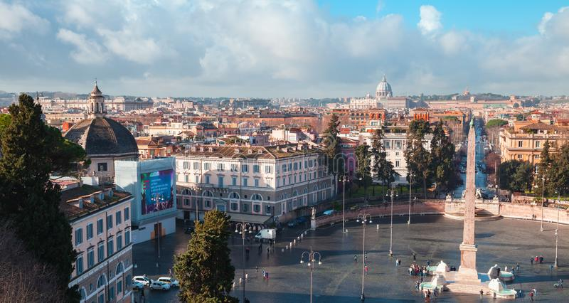 Piazza del Popolo, Rome. Rome, Italy - February 7, 2016: Morning panoramic cityscape of Piazza del Popolo, looking west from the Pincian Hill stock images