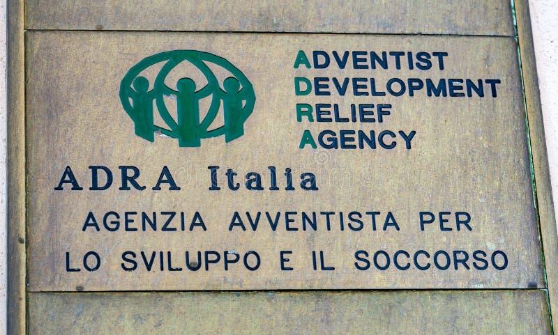 ADRA Italia, Adventist Development and Relief Agency. Rome, Italy - February 15, 2019: Plate of ADRA Agenzia Avventista per lo sviluppo e il soccorso, Adventist stock photos
