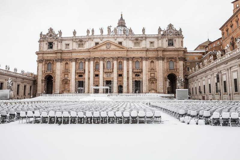 Rome with snow, Piazza San Pietro St. Peter`s Square Vatican City royalty free stock images