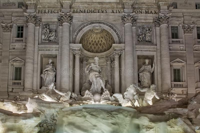 Rome, Italy Fontana de Trevi Famous Landmark Fountain Architecture Statues Closeup stock image