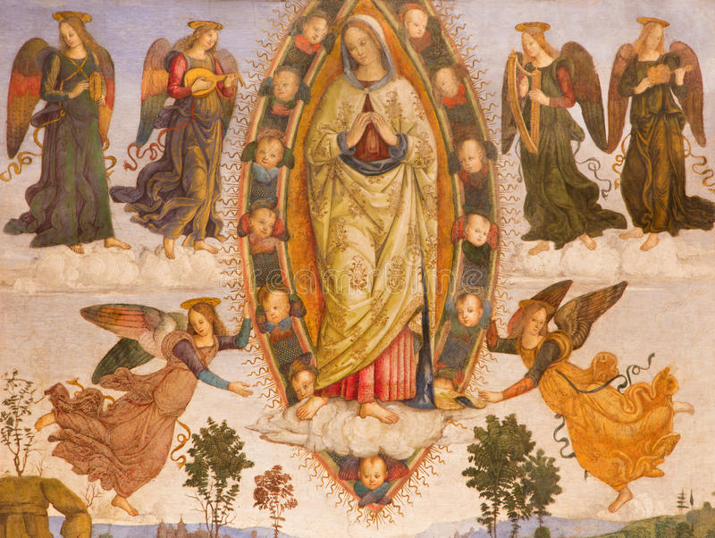 ROME, ITALY: The fresco Assumption of Virgin Mary (detail) by helper of Aiuto del Pinturicchio (1489 - 1491) stock photos