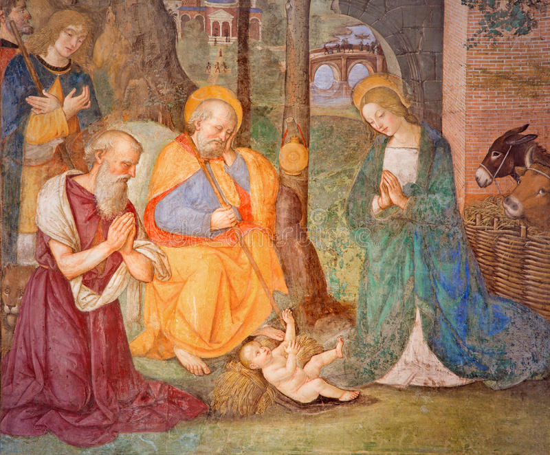 ROME, ITALY: Fresco Nativity with St. Jerome, in Rovere chapel in church di Santa Maria del Popolo stock images